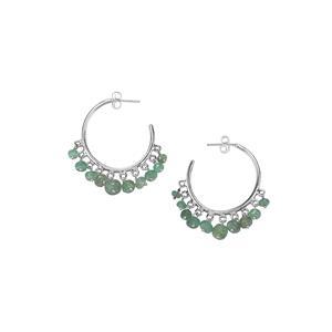 13ct Zambian Emerald Sterling Silver Bead Earrings