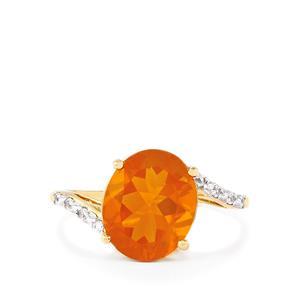 AA Orange American Fire Opal & White Zircon 9K Gold Ring ATGW 2.52cts
