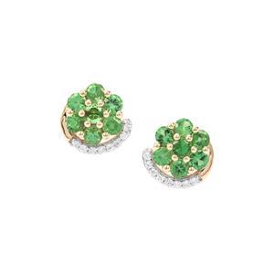 Tsavorite Garnet Earrings with White Zircon in 9K Gold 1.62cts
