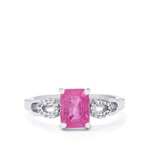 Ilakaka Hot Pink Sapphire Ring with White Topaz in Sterling Silver 2.18cts (F)