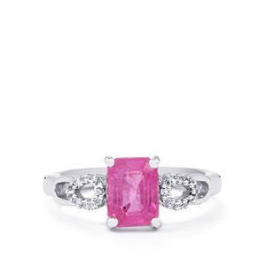 Ilakaka Hot Pink Sapphire & White Topaz Sterling Silver Ring ATGW 2.18cts (F)