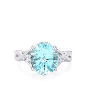 4.95ct Sky Blue & White Topaz Sterling Silver Ring