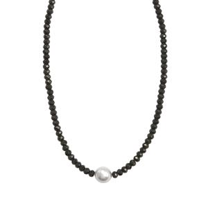 South Sea Cultured Pearl & Black Spinel Sterling Silver Graduated Bead Necklace (9mm)