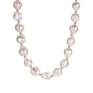 Baroque Cultured Pearl Necklace in Gold Tone Sterling Silver (9mm)