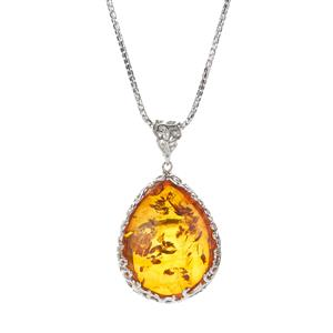 30ct Baltic Cognac (25x32mm) Amber Sterling Silver Necklace
