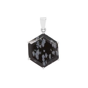 Snowflake Obsidian Pendant in Sterling Silver 18.68cts
