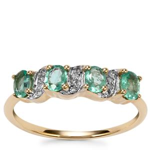 Zambian Emerald Ring with Diamond in 9K Gold 0.66cts
