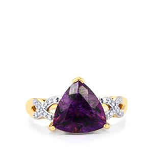 Moroccan Amethyst Ring with Diamond in 18k Gold 3.12cts