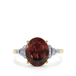Zanzibar Zircon Ring with Diamond in 18K Gold 4.95cts