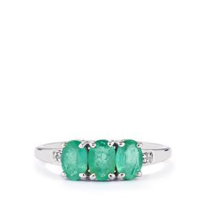 Zambian Emerald & Diamond 9K White Gold Ring ATGW 1.23cts