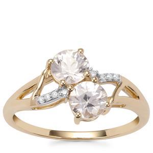 Singida Tanzanian Zircon Ring with Diamond in 10k Gold 1.64cts