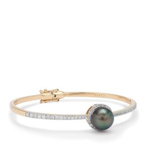 Tahitian Cultured Pearl Bangle with White Zircon in 9K Gold (10MM)