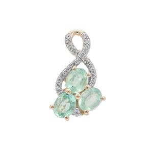 Malysheva Emerald Pendant with White Zircon in 9K Gold 1.10cts