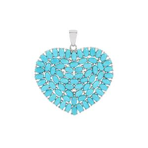 Sleeping Beauty Turquoise Heart Pendant in Sterling Silver 13.69cts
