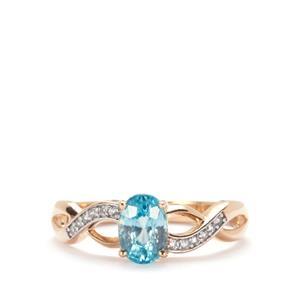Ratanakiri Blue Zircon Ring with White Zircon in 9K Gold 1.54cts