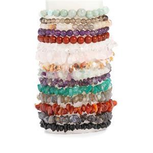 Kaleidoscope Gemstones Nuggets Bead set of 15 Stretchable Bracelet 770cts