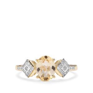 Ouro Preto Imperial Topaz & White Zircon 9K Gold Ring ATGW 1.43cts