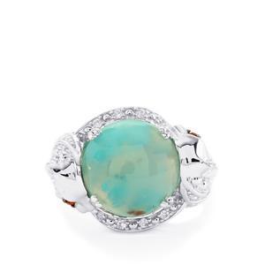 Aquaprase™, Mozambique Garnet & White Zircon Sterling Silver Ring ATGW 8cts