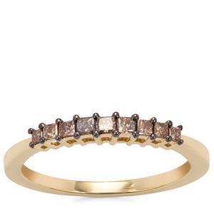Champagne Diamond Ring in 10k Gold 0.26ct