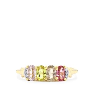 Natural Sakaraha Rainbow Sapphire Ring with Diamond in 9K Gold 1.25cts