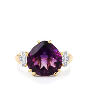 Moroccan Amethyst Ring with Diamond in 14k Gold 5.04cts