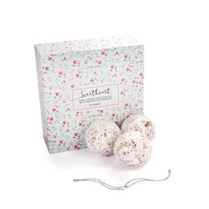 Sweet Heart Rose Petal Set of 4 Bath Fizz with Sterling Silver Bracelet