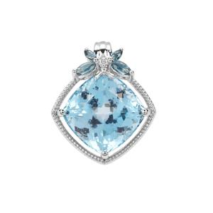 Sky Blue Topaz Pendant with Marambaia London Blue Topaz in Sterling Silver 11.92cts