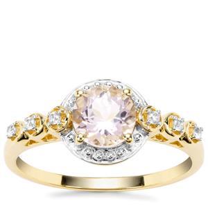 Nigerian Morganite Ring with White Zircon in 9K Gold 0.86ct