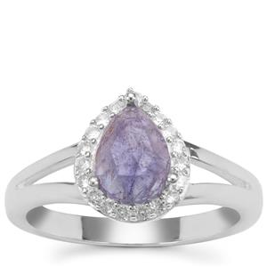 Rose Cut Tanzanite Ring with White Zircon in Sterling Silver 1.48cts