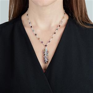 Kaleidoscope Gemstones Necklace in Sterling Silver 46.20cts