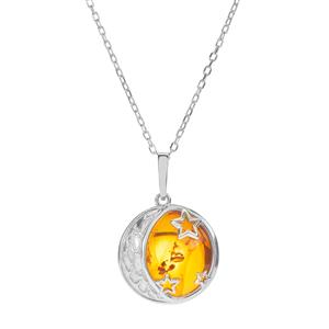Baltic Cognac Amber Necklace in Sterling Silver (18.50mm)