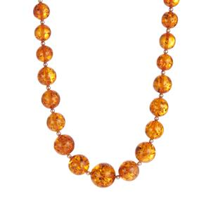 Baltic Cognac Amber Sterling Silver Graduated Necklace