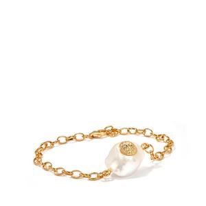 Baroque Cultured Pearl Gold Flash Sterling Silver Bracelet (18mm)
