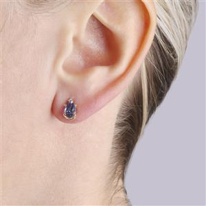 Bi-Color Tanzanite Earrings with White Zircon in 10k Gold 1.29cts