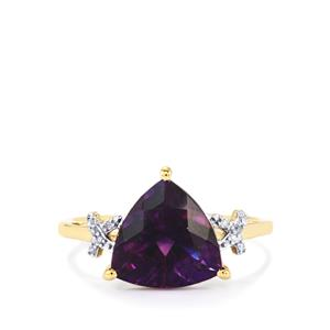 Moroccan Amethyst Ring with Diamond in 10k Gold 3.08cts