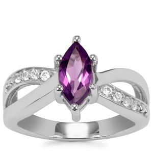 Zambian Amethyst Ring with White Topaz in Sterling Silver 1.07cts