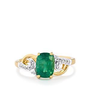 Zambian Emerald & Diamond 18k Gold Tomas Rae Ring MTGW 1.50cts