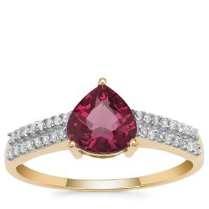 Malawi Garnet Ring with White Zircon in 9K Gold 1.85cts