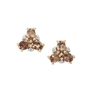 Tsivory Colour Change Garnet Earrings with White Zircon in 9K Gold 1.23cts