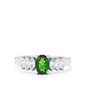Chrome Diopside & White Topaz Sterling Silver Ring  ATGW 1.42cts