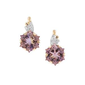 Wobito Snowflake Cut Anahi Ametrine Earrings with Diamond in 9K Gold 4.35cts