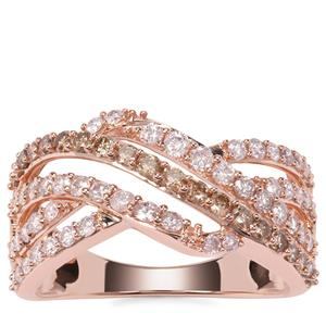 Natural Pink Diamond Ring with Champagne Diamonds in 9K Rose Gold 1.02cts