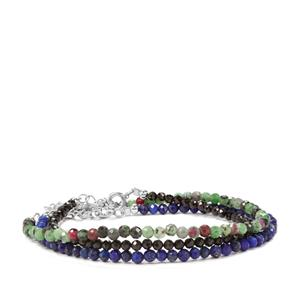 Black Spinel, Lapis Lazuli Set of 3 Bead Bracelet with Ruby-Zoisite in Sterling Silver 37.81cts