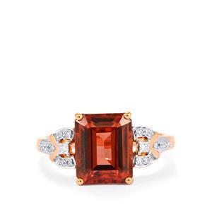 Zanzibar Zircon Ring with Diamond in 18k Rose Gold 5.78cts