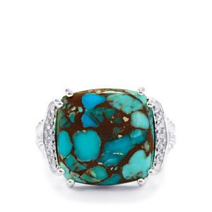 Egyptian Turquoise Ring with White Topaz in Sterling Silver 10.15cts