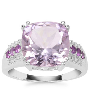 Rose De France Amethyst Ring with Zambian Amethyst in Sterling Silver 5.24cts