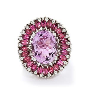 Pink Amethyst, Rhodolite Garnet & White Topaz Sterling Silver Ring ATGW 13.76cts