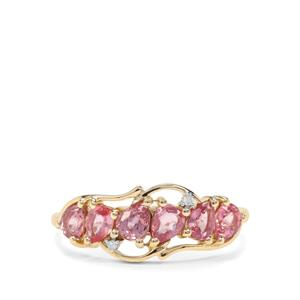 Padparadscha Sapphire & Diamond 10K Gold Ring ATGW 1.14cts
