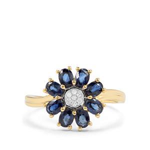 Australian Blue Sapphire & Diamond 9K Gold Ring ATGW 1.45cts