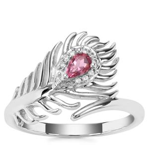 Pink Tourmaline Ring with White Zircon in Sterling Silver 0.26ct
